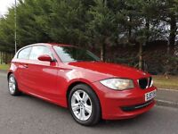 SEPTEMBER 2007 BMW 118D SE 6SPEED IMOLA RED BLACK LEATHER IMMACULATE EXAMPLE MOT FEBUARY 2017 £30TAX