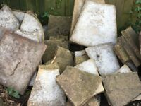 Used but reasonable condition paving slabs, varying sizes