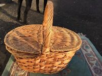 Vintage Retro Hand Weaved Picnic Basket Scottish