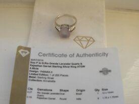 Lavender Quartz Silver ring