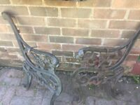 Cast iron garden Seat ends with lion heads