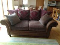 Brown leather/chenille sofa