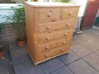 Solid Pine Chest of Drawers *FREE LOCAL DELIVERY* High Quality Good Condition!