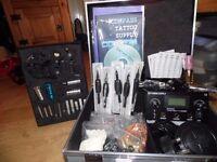 NEW Professional UK Tattoo Kit Dual Power Supply 2 Cast Machines Needles ink etc