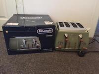 Delonghi Vintage Icona CTOV4003.GR Olivia 4 Slice Toaster - Olive Green