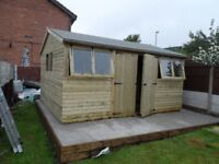 12X10 GARDEN SHED LOGLAP T&G FREE FITTING OTHER SIZES AVAILABE