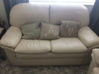 Two seater sofa and matching chair cream leather