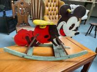 Fabulous original 1930s Mickey Mouse wooden hand painted rocker