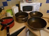 7 Pots, pans and wok for 20 pounds