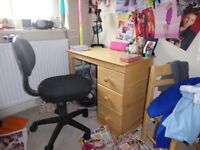 Child's solid wood desk and chair