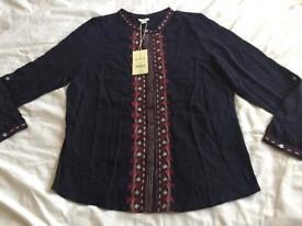 B/N Monsoon embroidered ladies shirt, uk size 18