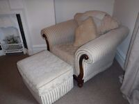 Lovely regency style bedroom or other arm chair and pouffe