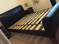4ft 6 Double Leather Sleigh Bed with Slats.