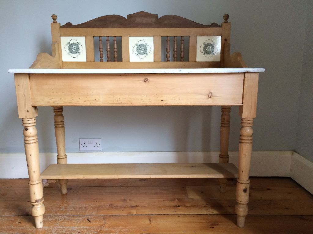 Antique Victorian Pine Washstand With Marble Top And Tiled