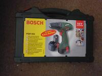 nearly new bosch cordless drill, 2 batts, case