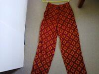 Orange patterned Palazzo trousers size 10
