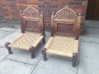 2 Low Chairs Folding Wood Chairs Indian Style Well Made Unusual Pair of Hardwood Chairs LOMBOK