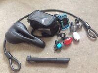 Selle itailia gel seat, lights, phone holder, bag, pump, lights, saddle bag and lock