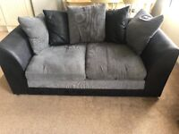 3 seater sofa and 2 seater fabric sofa grey and black