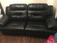 DFS Black Leather 3 Seater Sofa