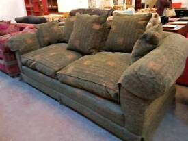 Large dark green fabric 2 seater sofa (duck feather cushions)