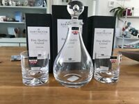 Dartington Glass Lead Crystal Directors Decanter and 2 Double Dimple Old fashioned Whiskey Glasses
