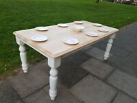 WHITE Farmhouse 6ft Pine Dining Table Rustic Shabby Chic FREE safe LOCAL Delivery