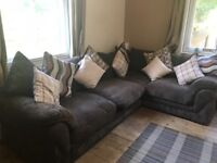 Soft Fabric, Brown corner sofa. Very good condition.