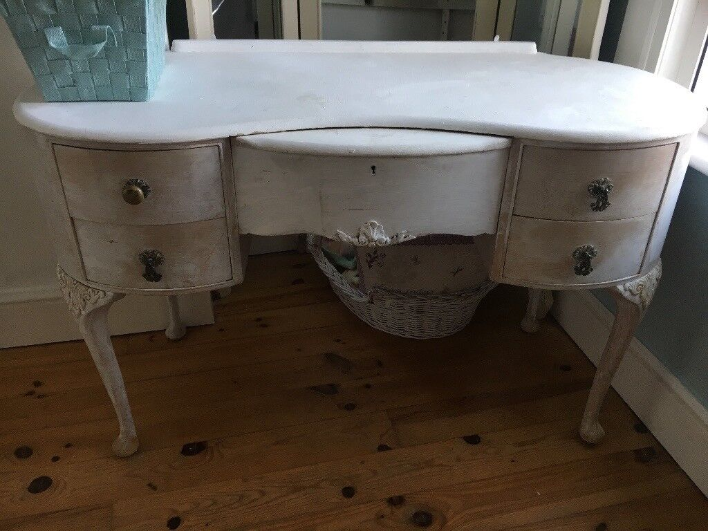 Vintage shabby chic wooden dresser / vanity table with mirror ( painted white)