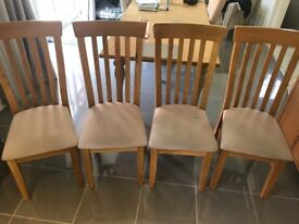 Solid Oak Dining Room Chairs x 4