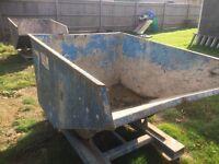 2x Tipping skip skips tip bin for forklift building rubbish yard off cuts scrap wood etc