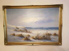 Seascape / Landscape painting with Gold frame