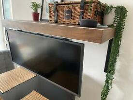 Rustic hidden monitor floating shelf (ultra wide monitor option)