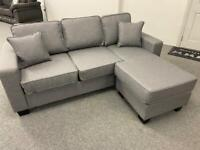 BRAND NEW SMALL MID GREY CHAISE CORNER SOFA SUITE
