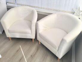 2 White Leather Tub Chairs £40 each