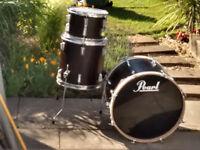 Drum Kit 20'' Bass, 14'' Floor tom, 12'' Tom, dark brown stain.