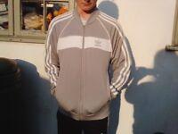 Adidas Grey/White Full Zip Bomber Jacket