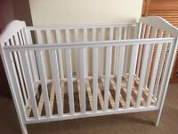 White Mothercare Cot in New Condition (only used 4 nights by visiting grandchild) £30