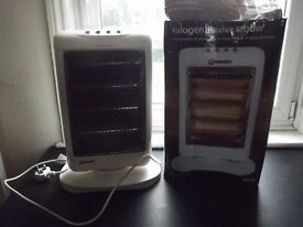 Electrical halogen heater. It provides instant heat as soon as is connected.