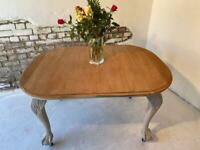 Antique Dining Table refurbished Ball and Claw Feet on Castors