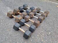 Heavy Duty Rubber Coated Dumbbells 10kg,12.5kg,15kg,17.5kg,20kg (Pairs)