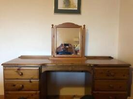 Oak Dresser with Mirror.£25.Pick up from Port Seton.