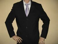 WORN ONCE BLACK TED BAKER ENDURANCE SUINGLE BREAST 100% PURE WOOL SUIT 40R CHEST34 WAIST 32 LEG