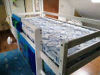 Child's wooden Mid Sleeper bed with blue tent and matching mattress, £65