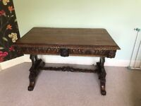 Antique Victorian Gothic Style Oak Hall Table