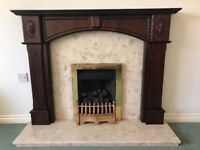 Marble fireplace with Mahogany surround