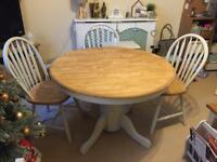 Solid wood table and arrowback chairs grey