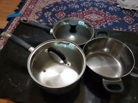 3 large cooking pots with glass lids