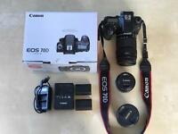 Canon 70D with accessories,extra lenses & box.