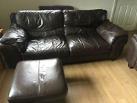 Two Three Seater Chocolate Brown Leather Sofa with footstool